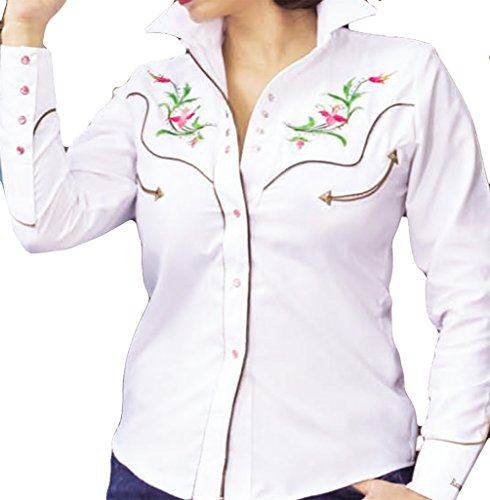 Long Floral White Embroidered Cowboy Camicia Horseshoe Modestone Western Women's Sleeved 1E4q4w