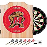 University of Maryland Deluxe Solid Wood Cabinet Complete Dart Set - Officially Licensed!