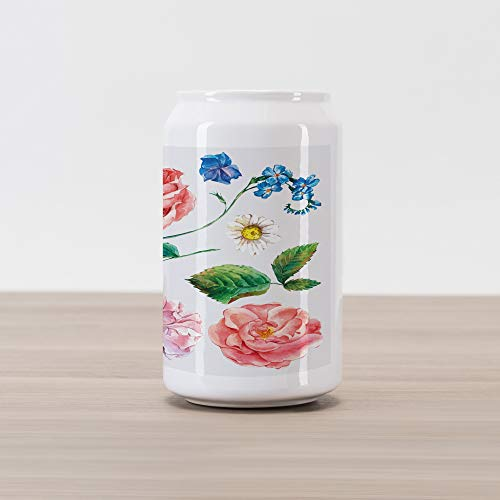 Ambesonne Floral Cola Can Shape Piggy Bank, Bouquet Set with Rose Daisy Petals and Branches Shabby Chic Vintage Picture, Ceramic Cola Shaped Coin Box Money Bank for Cash Saving, Pink and Green
