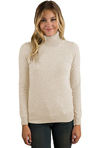 00% Pure Cashmere Long Sleeve Pullover Turtleneck Sweater (PM, Oatmeal) (Cashmere Petite Turtleneck)