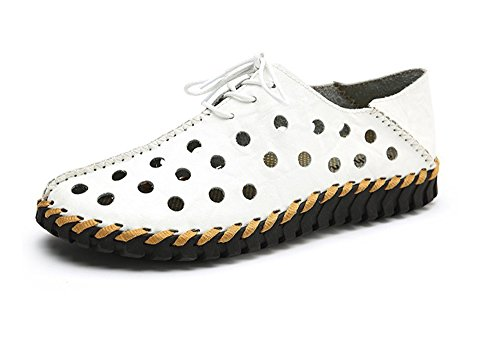 2018 New Men's Leather Casual Shoes, Men's Driving Shoes Lazy Shoes Hollow Shoes White