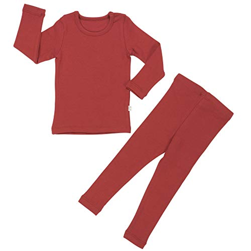 (Baby Boys Girls Pajama Set 6M-8T Kids Cute Toddler Snug fit Pjs Cotton Sleepwear (Cherry Red-1)