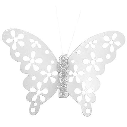 Pinza de depilar 4 unidades, diseño de mariposa y metalizada, color blanco