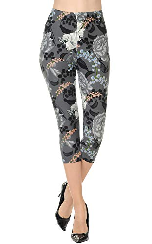 VIV Collection Plus Size Printed Brushed Capris (Ageless Blossom)
