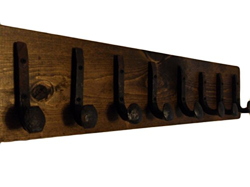 Heavy Duty Coat Hat Robe Tool Towel Hook Rail Rack Wall Mount Storage Display Rustic Holder Architectural Reclaimed Organizer Kitchen Bathroom Foyer Bedroom Closet Garden Garage Accessory Wooden Antique Vintage Metal (Dark Walnut and Antique Iron, 32'' Rac by RailroadSpikeArtTM