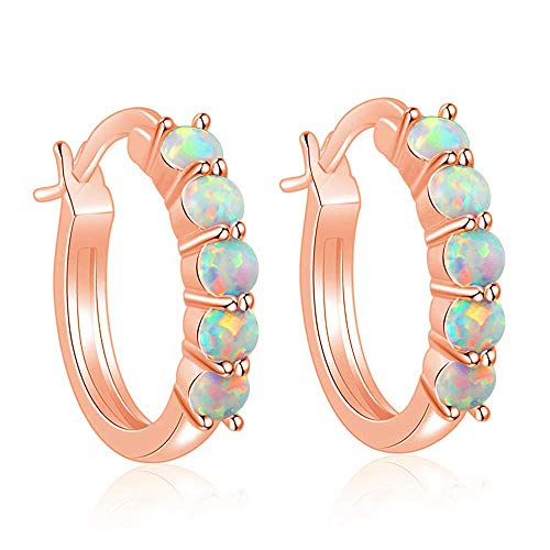 (CiNily Small Hoop Earrings for Women White Fire Opal Hoop Earrings 18K Rose Gold Plated Hypoallergenic Jewelry Gemstone Huggie Hoop Earrings 18mm)