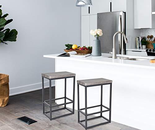 Kitchen Zenvida 24″ Counter Height Bar Stools Set of 2 Backless Industrial Modern Kitchen Island Chairs modern barstools