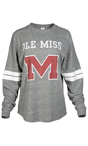 Official NCAA University of Mississippi Rebels Ole Miss Hotty Toddy Women's Long Sleeve Tri- Blend Football Tee