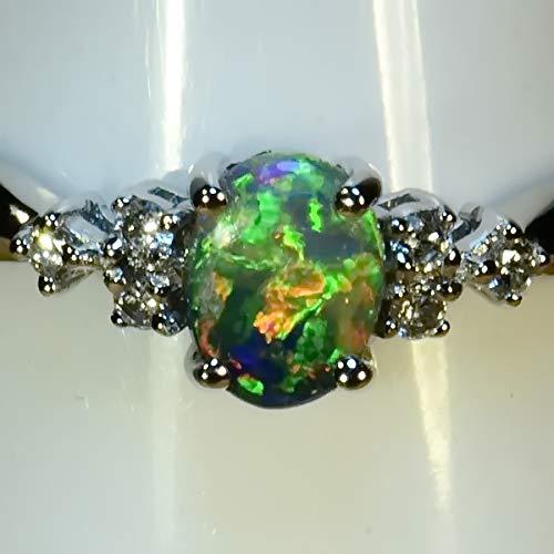 Lightning Ridge Solid Black Australia Opal Solid 18k white gold & diamond dress/engagement ring (15026) ()