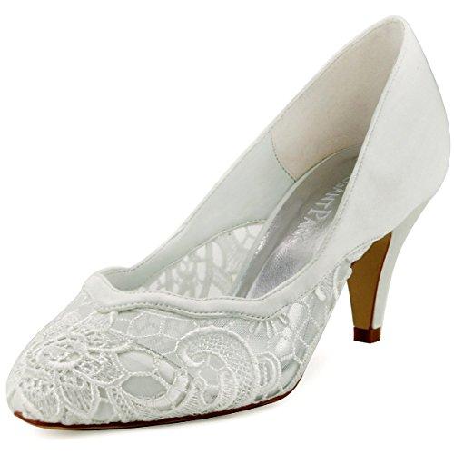 ElegantPark Ivory Lace Bridal Wedding Shoes Cutout High Heel 3 Inch US 9