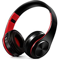 ONKO Bluetooth Headphones, Hi-Fi Stereo Wireless Headset, Fordable, Soft Memory-Protein Earmuffs, w/ Built-in Mic and Wired Mode for PC/ Cell Phones/ TV (red & black)