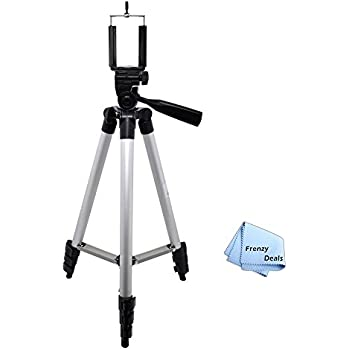"""50"""" Camera Tripod for ALL Smartphones, Phablets, Cameras & Camcorders + Water Resistant Carrying Case + Frenzy Deals Microfiber Cloth"""