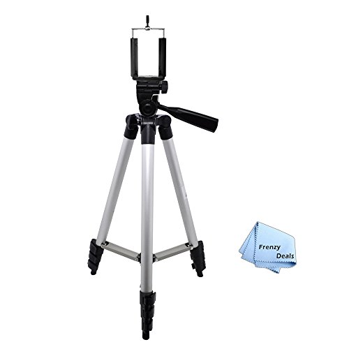 "50"" Camera Tripod for ALL Smartphones, Phablets, Cameras & Camcorders + Water Resistant Carrying Case + Frenzy Deals Microfiber Cloth"