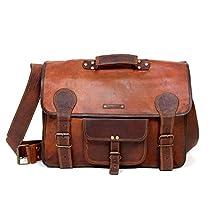 """Raw Hide 17"""" Original Leather Laptop Briefcase Messenger Shoulder Bag for Men and Women"""