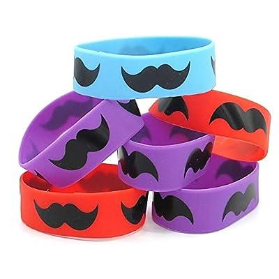 Dazzling Toys Rubber Bracelets Jumbo Mustache Rubber Bracelets - Pack of 24: Toys & Games
