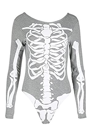 Womens Ladies Halloween Skeleton Bones Jersey Bodycon Tunic T Shirt Dress Top BE JEALOUS