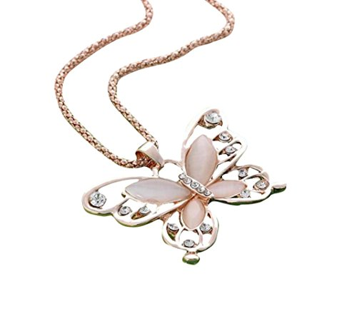 Bestpriceam Womens Butterfly Pendant Necklace Lady Rose Gold Opal Fashion Sweater Chain