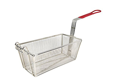 """Wincо FB-25, 12-7/8"""" Stainless Steel Deep Fry Basket with Red Coated Handle, French Fries Fryer Basket, NSF"""