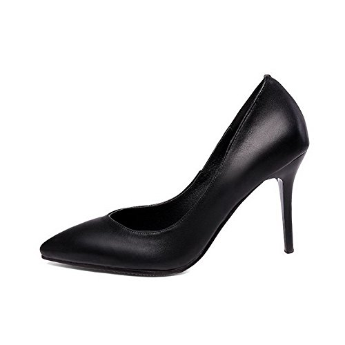 AmoonyFashion Womens Mixed Material Solid Pull-On Pointed Closed Toe High Heels Pumps-Shoes Black 27pqVL