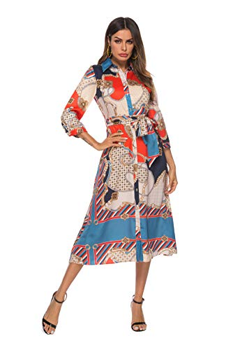 SHENGYI Women's Vintage Boho Printing 3/4 Sleeve Lapel Button Down Belt Casual Long Dress Red Medium