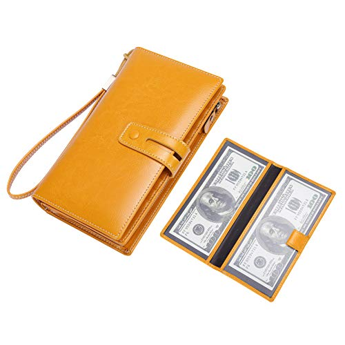 (Wallet for Women Large Capacity RFID Blocking Real Leather Purse Clutch Checkbook (Z1 Checkbook Yellow))