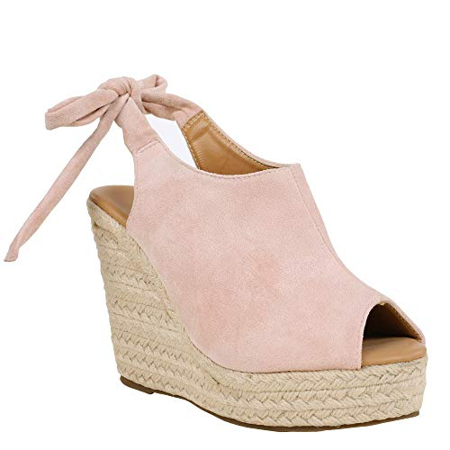 (Syktkmx Womens Espadrille Platform Wedge Heel Peep Toe Ankle Strap Slingback Suede Sandals)