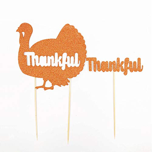 Soochat Thanksgiving Cake Toppers | Turkey Cake Topper | Thankful Cake Topper | Thanksgiving Day Fall Party Glitter Cake Decoration from Soochat