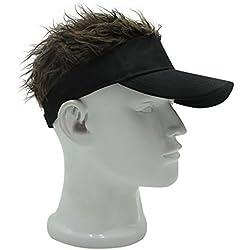 Oberora Novelty Sun Visor Cap Wig Peaked Adjustable Baseball Hat With Spiked Hair (Black-Brown)