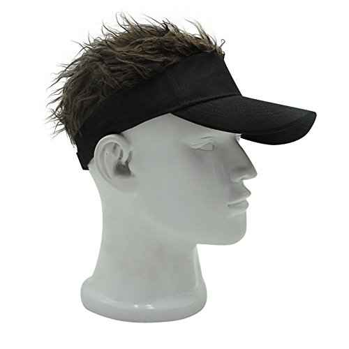 OBERORA Novelty Sun Cap Wig Peaked Adjustable Baseball Hat with Spiked Hairs - Hair Hat Visor