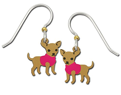 Sienna Sky Chihuahua Puppy Dog in Pink Sweater Earrings with Gift Box Made in USA (De Rosa Bongos)