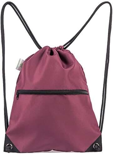 HOLYLUCK Men & Women Sport Gym Sack Drawstring Backpack Bag (White, Purple, Burgundy,Black,Navy Blue,Red,Blue)