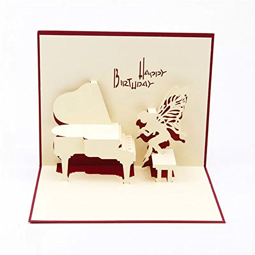 WoodBury 3D Pop Up Card Birthday Gift Greeting Cards Thank You Card Piano ()
