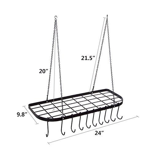 VDOMUS Pot Rack Ceiling Mount Cookware Rack Hanging Hanger Organizer with Hooks, Black