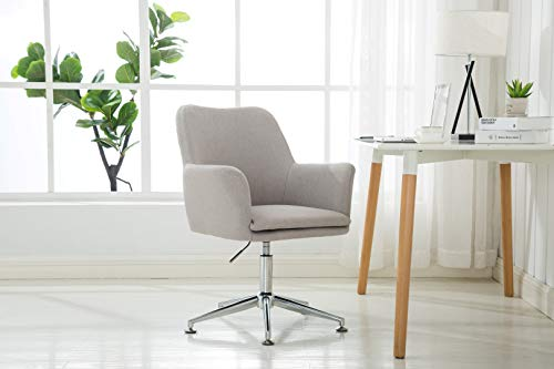 Porthos Home ZFC012A Gry Adjustable Height Contemporary Fabric Office Desk Chair with Arms and Optional Caster Wheels, Easy Assembly, One Size, Grey