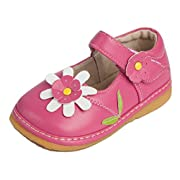 Little Mae's Boutique Toddler Shoes | Squeaky Pink With White Flower Mary Jane Toddler Girl Squeaky Shoes | Premium Quality (Removable Squeakers)(7)