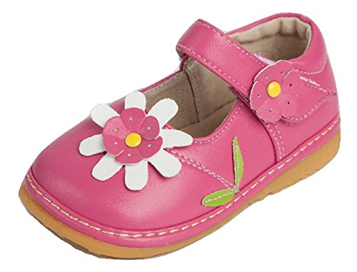 Little Mae's Boutique Toddler Shoes | Squeaky Pink with White Flower Mary Jane Toddler Girl Shoes (9) -