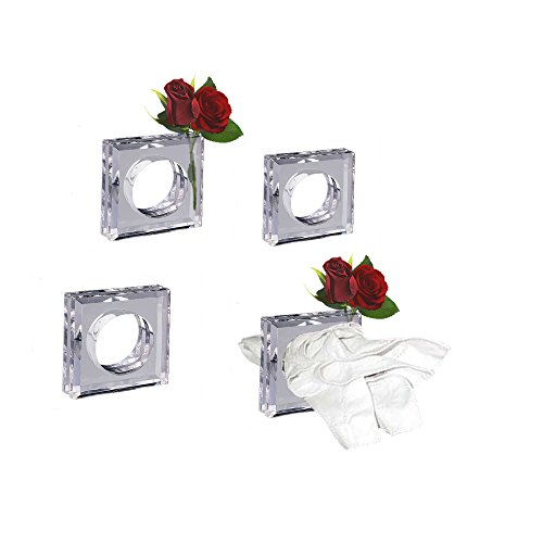 Decor Hut Clear Acrylic Napkin Rings Flower Vase Set of 4 Great Gift! 2 in 1 Great for Fresh or Silk Flowers. Holiday Table Settings ()