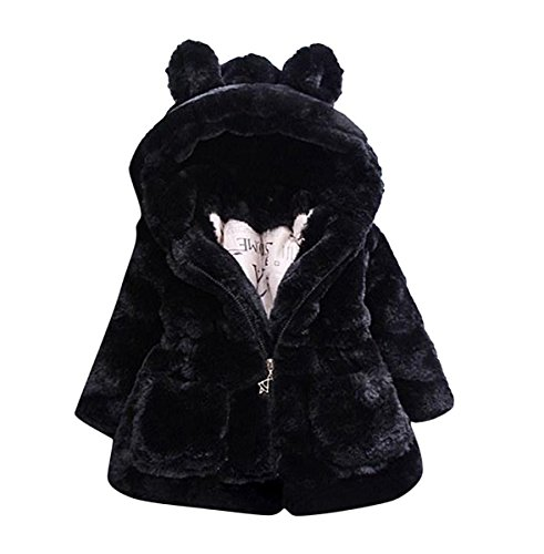 TAIYCYXGAN Baby Little Girls Winter Fleece Coat Kids Faux Fur Jacket with Hood Thicken Outwear Warm Overcoat Black 6T -