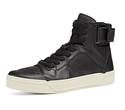 Gucci Men's Nylon Guccissima High-Top Sneaker, Black (Nero) 409766 (10.5 US/10 (Gucci Canvas Leather)