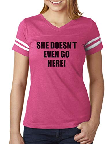 She Doesn't Even Go Here! Easy Halloween Costume Women Football Jersey T-Shirt XX-Large Pink/White