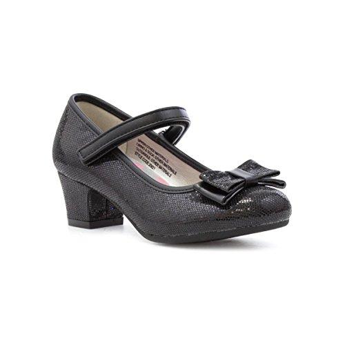 Lilley Sparkle Girls Black Bow Heeled Shoe - Size 1 UK - Black