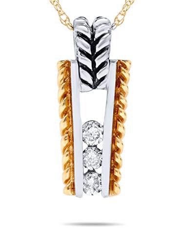 - 1/6 Carat Diamond Three Stone Pendant in 14k White and Yellow Braided Rope Gold