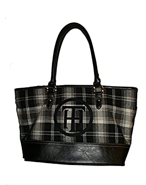 Women's Tote Handbag, Black Plaid