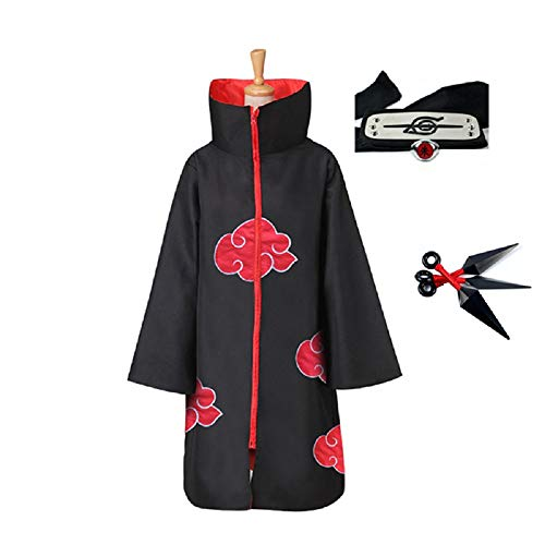 4pcs, Unisex, Akatsuki, Cosplay, Costume, Halloween, Cloak, Headband, Ring, Itachi, Uniform, Naruto Fans (Large) Red/Black ()