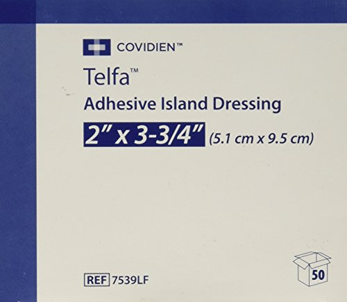 (7539LF Telfa Island Wound Dressing, Latex Free, Sterile Gauze 2 x 3-3/4 Inch, Adherent 50 Per Box. 7539LF by)