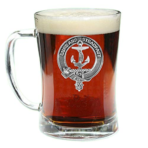 Clark(E) Scottish Clan Crest Badge Glass Beer Mug