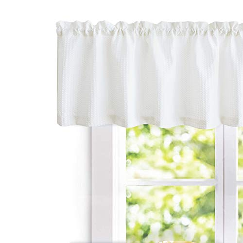 jinchan Waffle Woven Textured Valance for Bathroom Water Repellent Window Covering (60