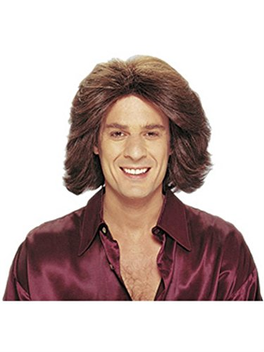 Franco-American Novelty Co - Feathered 70s Men's Brown Wig (One Size)