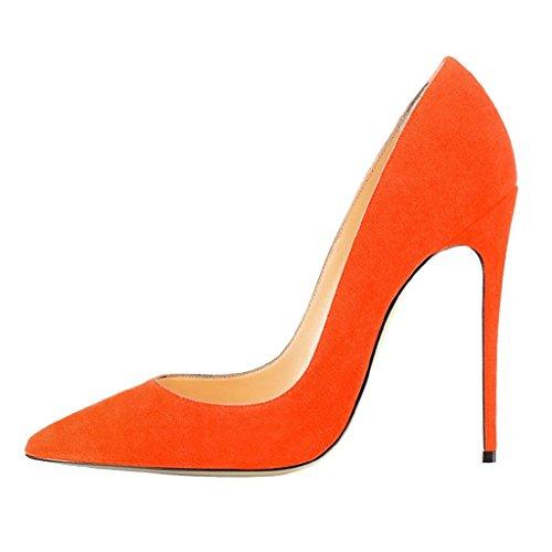 Pompe Toe Tacchi A Spillo Tacco Alto Donne Di Moda Fsj Sottolineato La Dimensione Delle Scarpe Del Vestito Da Sera Stampato Noi 4-15 Arancione