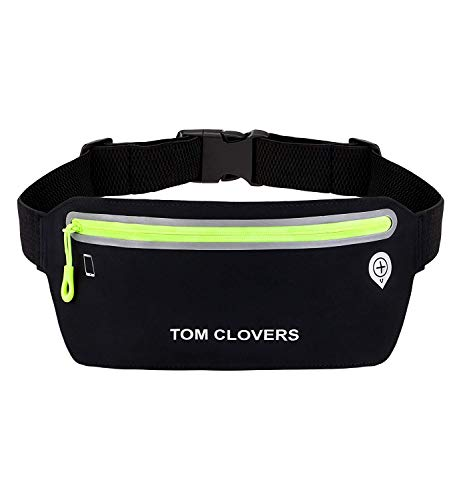 Tom Clovers Waterproof Reflective Waist Pack Bag Running Belt Fanny Pack iPhone 6 7Plus 8 X Pouch for Runners Fitness Gear Workout Sports Black S